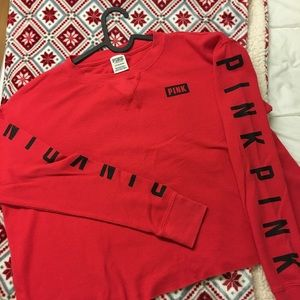 Pink red cropped long sleeve